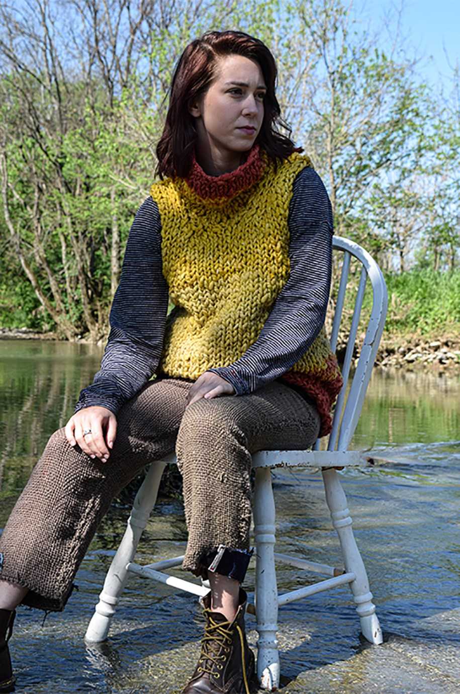 Jenna in Hand Spun, Dyed, Knit Wool Sweater, with Raglan Top, and Hand Woven Trouser.