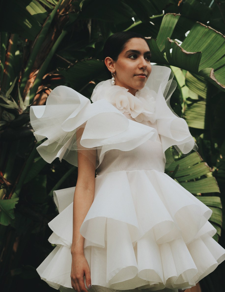 anilla organza tiered & ruffled blouse with petal collar