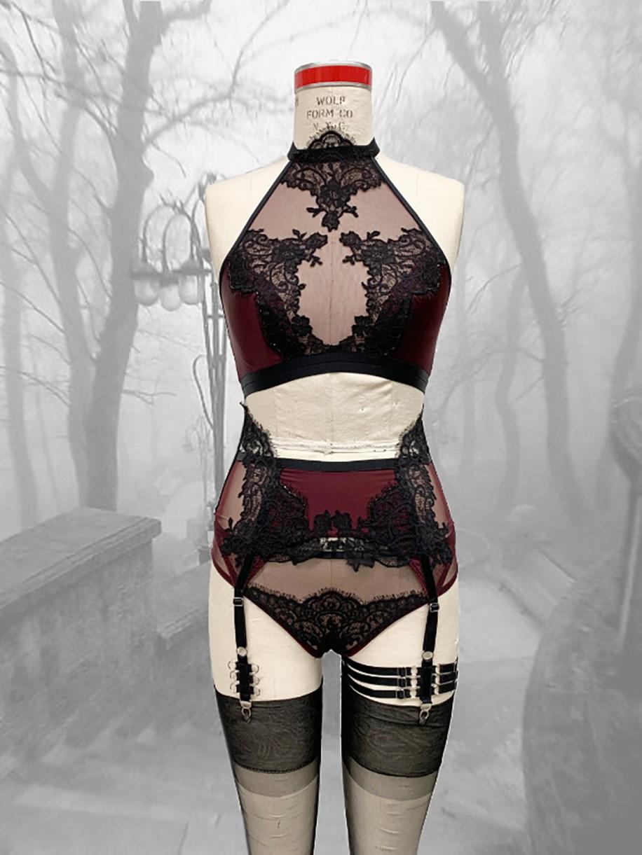 Burgundy silk charmeuse bra, asymmetrical garter belt & panty w/ black lace applique