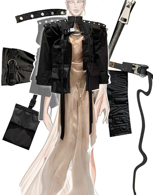 Multi-functional nylon jacket with soft draped chiffon dress