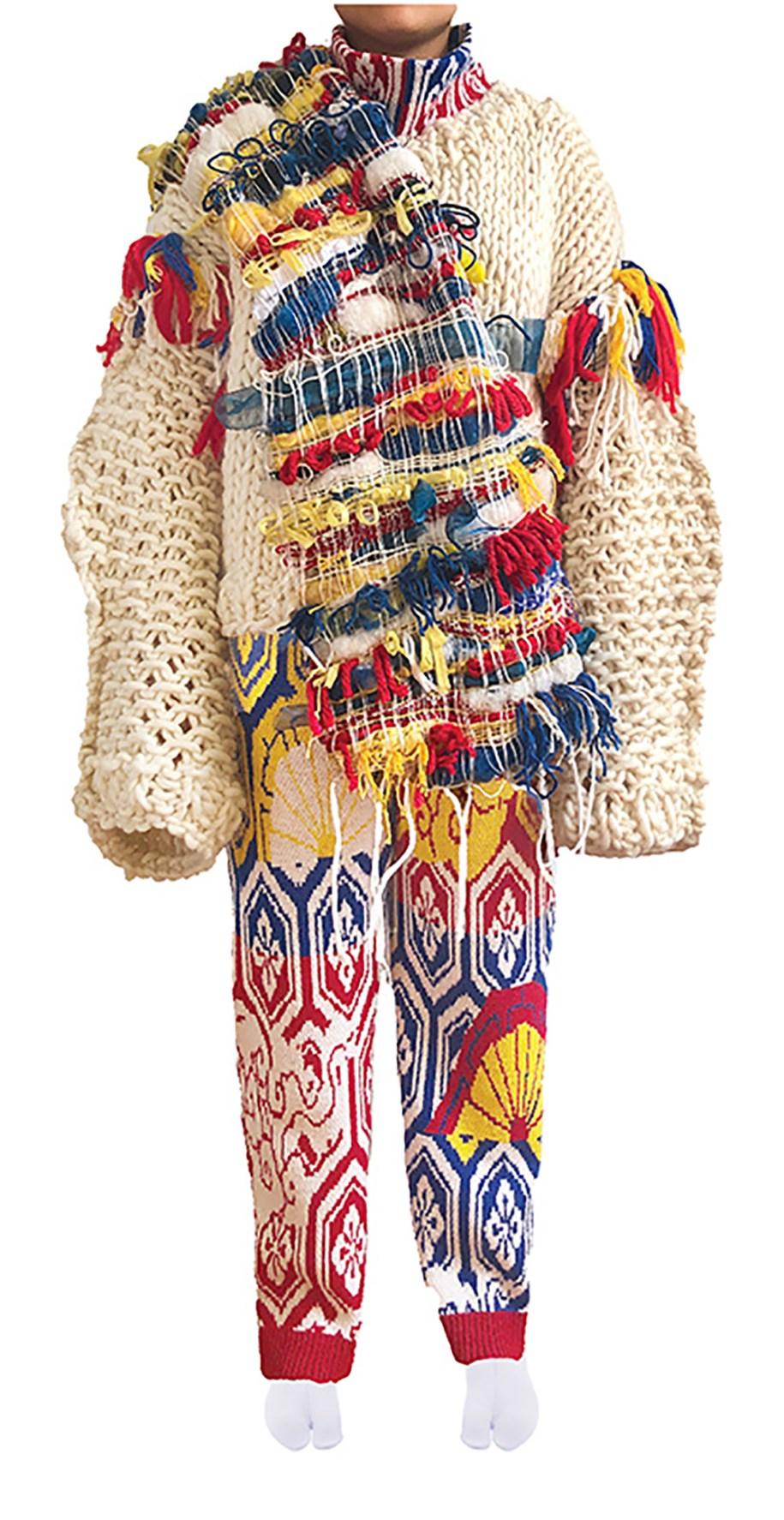Ecru chunky handknit top w/multicolor fringe detail, multicolor jacquard pant