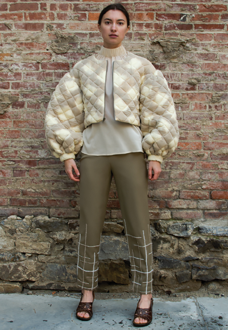 Coffee-dyed wool quilted puff sleeve jacket, Elastic high neck chiffon top, Yarn embroidered pants.