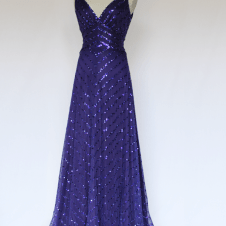 Look 1 Front View: 1930's Purple Evening Gown, Fully Hand Beaded with Cut Beads and Sequins