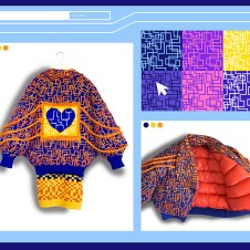 Puffer coat lined with tangerine nylon polyester fiber fill