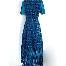 Back view of the denim fringe cocktail dress without the separate capelet.