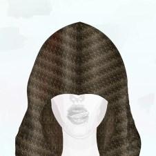 2nd look digital illustration of tuck stitch hood, close up