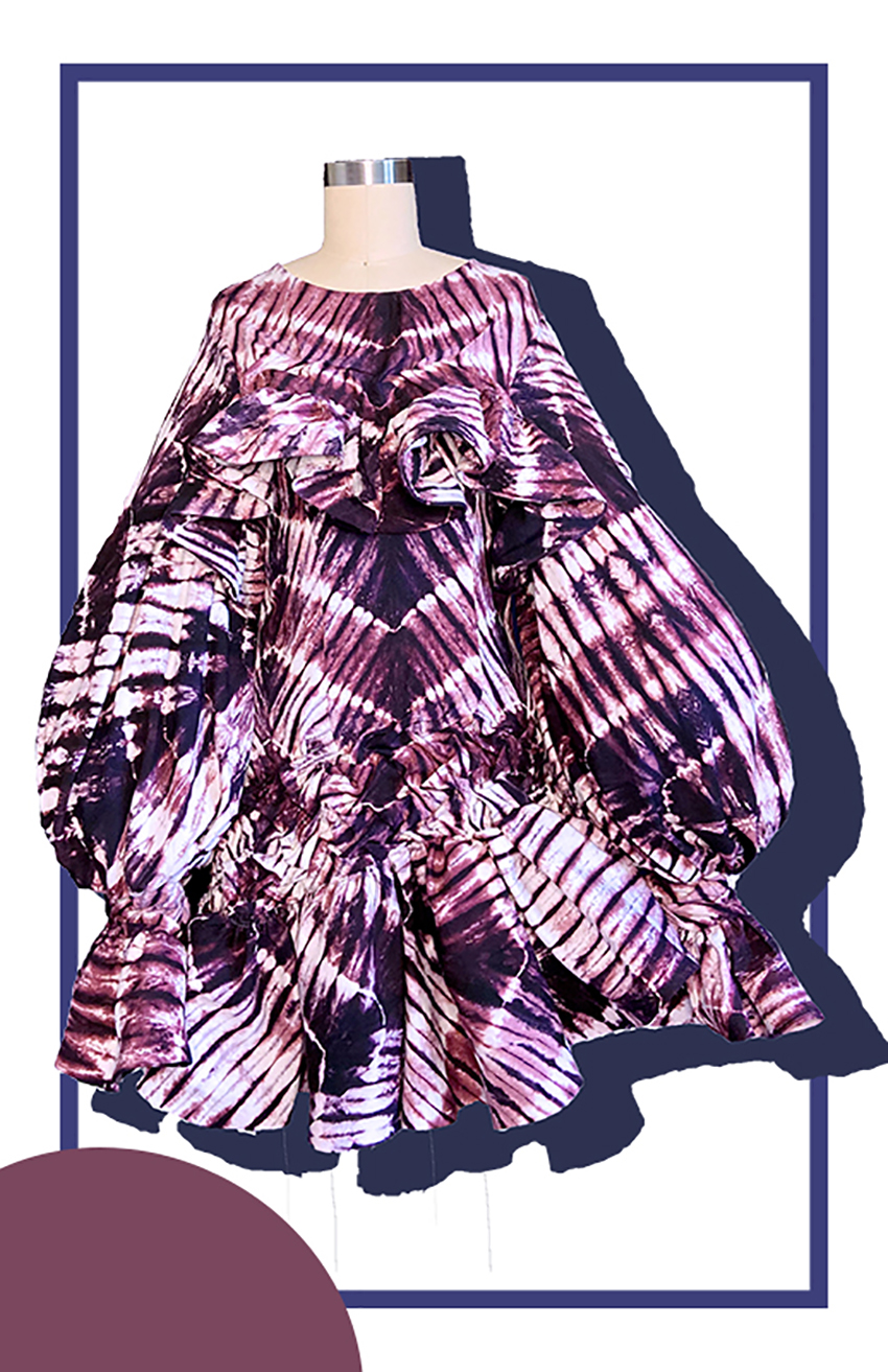 Look 1 - Purple Batik Print with hand smock asymmetrical ruffle hem and exposed back.