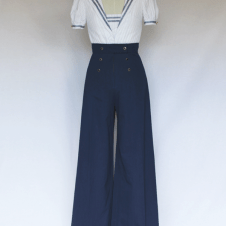 Look 2 Front View: 1930's Beach Pajamas, White Striped Sailor Collar Blouse and Wide Leg Trousers