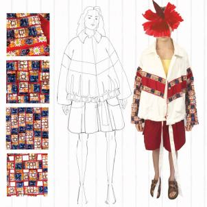 Look 2 front view: jacket with reversed traditional trim jacket and trachten style shorts