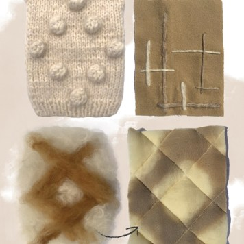 Fabrications: Hand knit bobble texture, Yarn embroidery, Quilted textile made with coffee-dyed wool batting