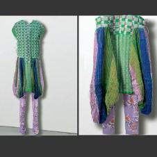 Santoni seamless circular knit leggings, printed with ascending floral pattern designed by Xuwen Pan
