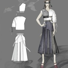 Look3 sketch: shirting top and denim Hakama pants