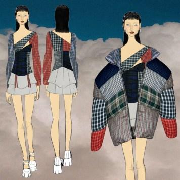 repurposed fabric top, skirt, puffer coat