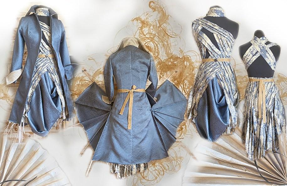 Toile de jouy dress, brocade fan frock coat.