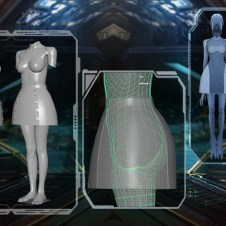 CUSTOM-MADE 3D PRINTED BRA, SHOULDER APPLIQUES, AND UNDER-DRESS, DESIGNED BY FLYNN XU.