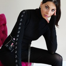 Logo catsuit with fingerless glove sleeves