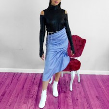 Pintucked asymmetrical skirt, pintucked cold shoulder bodysuit with fingerless glove sleeves