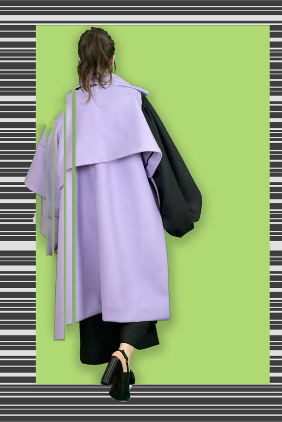 Two-in-one double-faced wool jacket in purple with a singular charcoal sleeve.