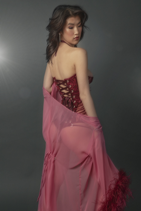 Back view of a woman wearing burgundy embroidered tulle bustier, burgundy silk panty, and pink silk chiffon robe with burgundy ostrich feather trim.