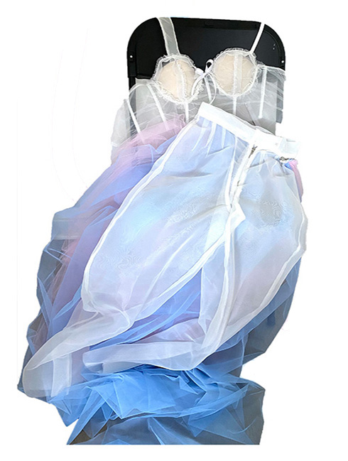Decoratively transparent corset and organza pants with colorful zip on tulle dress.