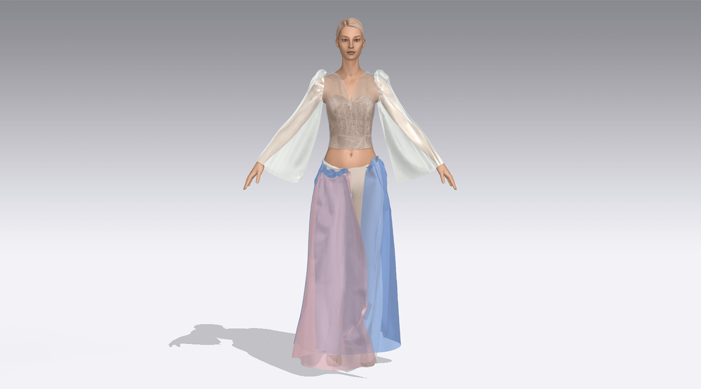 Transparent blouse and tulle dress pants