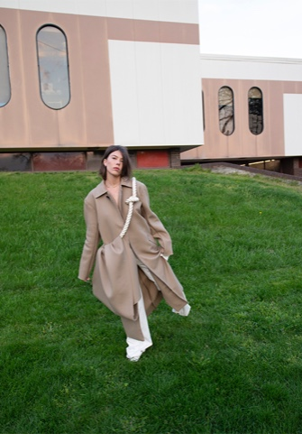 Kerrigan Steger Onno Collection Photo 1 - Front view of garment and model. Building in the background