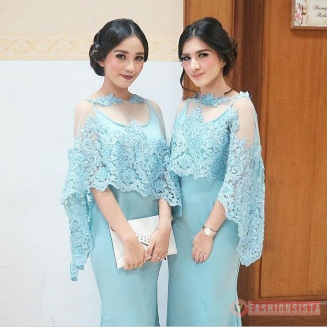 Baju Kebaya Brokat Modern Model Cape Biru Muda Fashionsista Co