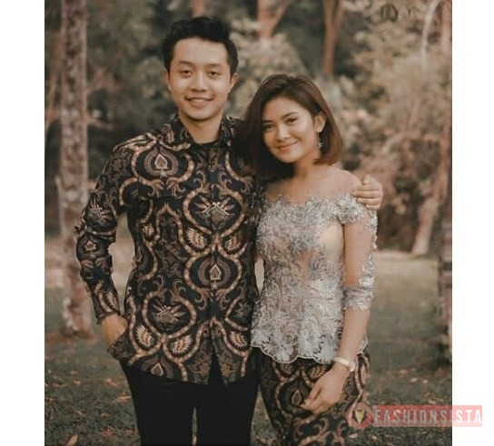 Baju Kebaya Couple Brokat Payet Transparan Silver Fashionsista Co