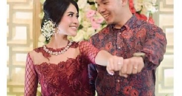 Baju Kebaya Couple Brokat Payet Transparan Tile Maroon