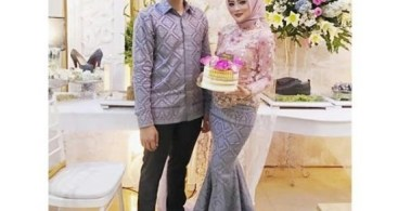 Baju Kebaya Couple Model Duyung Soft Pink Abu