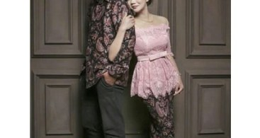 Baju Kebaya Couple Model Peplum Baby Pink
