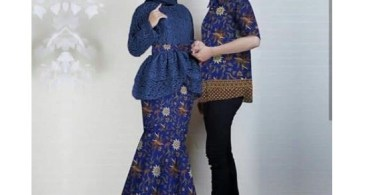 Baju Kebaya Couple Model Peplum Navy