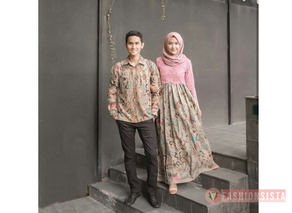 Baju Kebaya Couple Brokat Batik Terbaru Model Dress Soft Pink