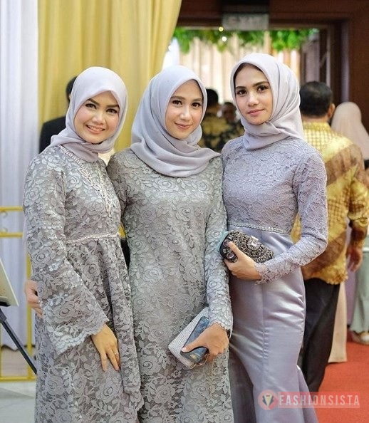 Kebaya Brokat Modern Model Tunic Soft Grey Fashionsista Co Model