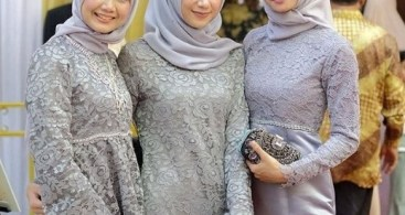 Kebaya Brokat Modern Model Tunic Soft Grey