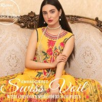 Rujhan Swiss Gold Voil Embroidered Spring Summer Collection 2021 Price Buy Online for Women