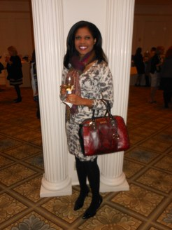Nadine Spring is wearing a dress by Banana Republic, shoes by Calvin Klein, a bag by Michael Kors. Her scarf is a treasured gift from someone who went to Turkey.
