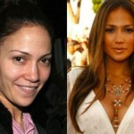 Jennifer Lopez with make and without makeup