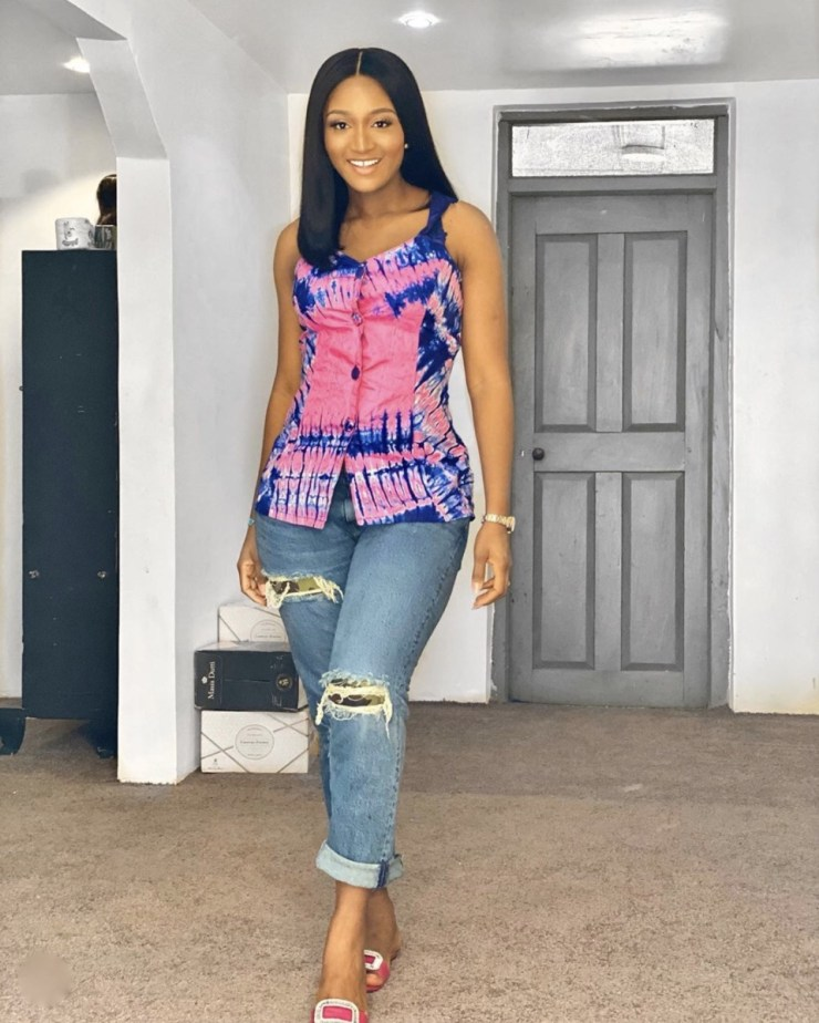 Powede Eniola Awujo pink and blue tie and dye tops stylerave