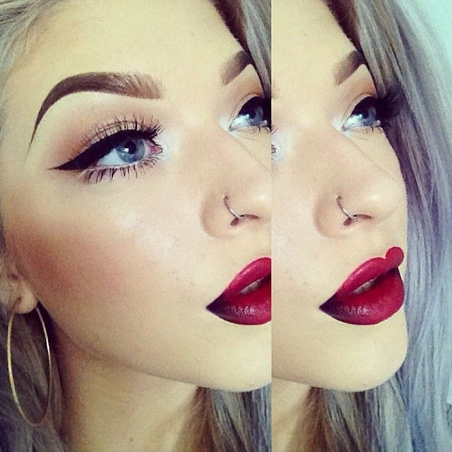 Bold Makeup Red Lips And Cat Eyes