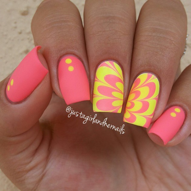 Amazing Water Marble Nail Art Designs