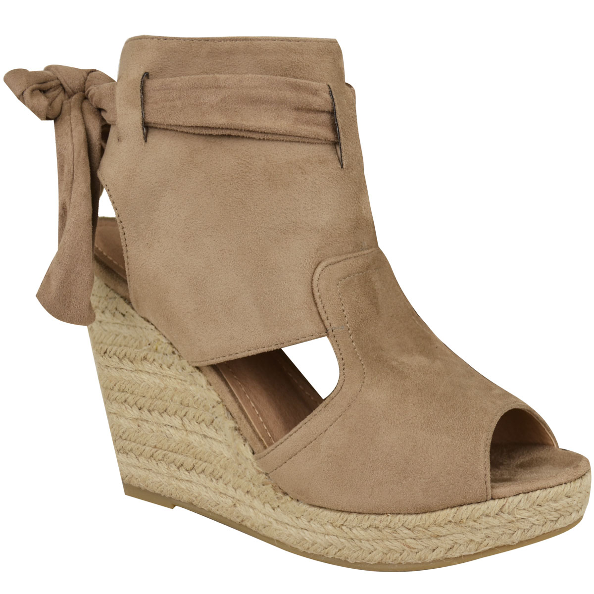 Strappy Ankle Tie Wedge Sandals