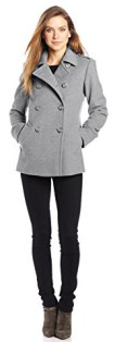 Larry Levine Women's Double Breasted Soft Wool Pea Coat, Grey