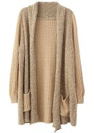 Sheinside Women's Khaki Long Sleeve Pockets Loose Cardigan Sweater
