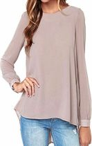 10 Fall Tops Paris ZANZEA Women's Loose Casual Solid Long Sleeve Chiffon Shirt Tops Blouse
