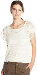 11 Democracy Women's Tiered Woven Short Sleeve Crochet Top with Fringe Hem