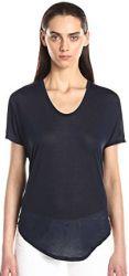 12 Helmut Lang Women's Entity Jersey Scoop Neck Short Sleeve Tee Shirt