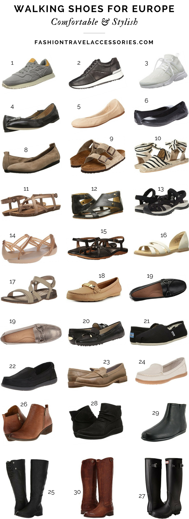 Walking Shoes For Europe Comfortable Functional Chic Stylish - Fashion Travel Accessories 1