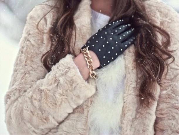 furry coat in winter