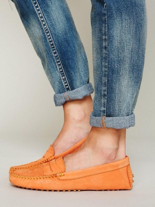 Casual Orange Moccasins Shoe
